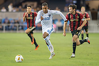 San Jose, CA - Wednesday September 19, 2018: Chris Wondolowski, Michael Parkhurst during a Major League Soccer (MLS) match between the San Jose Earthquakes and Atlanta United FC at Avaya Stadium.