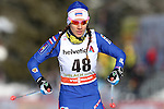 Karen Chanloug in action at the sprint qualification of the FIS Cross Country Ski World Cup  in Dobbiaco, Toblach, on January 14, 2017. Credit: Pierre Teyssot