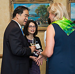 DePaul President A. Gabriel Esteban, Ph.D., and his wife Josephine chat with alumna Marty Wilke, president and general manager of CBS-owned WBBM-Channel 2, during a gathering of women leaders Thursday, July 20, 2017, at The Chicago Club. The event was organized to welcome the Estebans to Chicago and introduce them to some of Chicago&rsquo;s most influential women.<br />