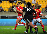 Amanda Thornborough takes a pass during the 2017 International Women's Rugby Series rugby match between the NZ Black Ferns and Canada at Westpac Stadium in Wellington, New Zealand on Friday, 9 June 2017. Photo: Dave Lintott / lintottphoto.co.nz