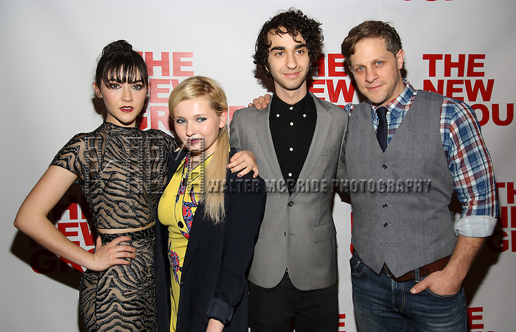 """Isabelle Fuhrman, Abigail Breslin, Alex Wolff and Joe Tippett attend the Opening Night of The New Group World Premiere of """"All The Fine Boys"""" at the The Green Fig Urban Eatery on March 1, 2017 in New York City."""