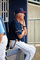 Northwest Arkansas Naturals hitting coach Leon Roberts (7) in the dugout during a game against the Midland RockHounds on May 27, 2017 at Arvest Ballpark in Springdale, Arkansas.  NW Arkansas defeated Midland 3-2.  (Mike Janes/Four Seam Images)