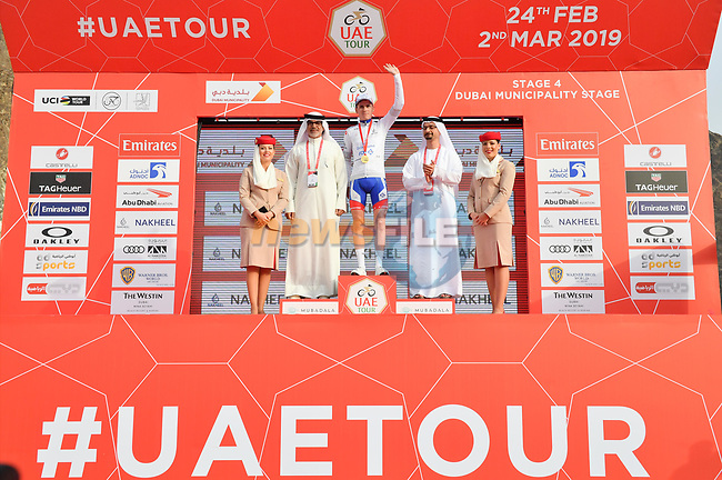 David Gaudu (FRA) Groupama-FDJ retains the young riders White Jersey at the end of Stage 4 of the 2019 UAE Tour, running 197km form The Pointe Palm Jumeirah to Hatta Dam, Dubai, United Arab Emirates. 26th February 2019.<br /> Picture: LaPresse/Massimo Paolone | Cyclefile<br /> <br /> <br /> All photos usage must carry mandatory copyright credit (© Cyclefile | LaPresse/Massimo Paolone)