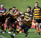 Ki Anufe looks for options as he brings the ball forward. Counties Manukau Premier 1 McNamara Cup Final between Ardmore Marist and Bombay, played at Navigation Homes Stadium on Saturday July 20th 2019.<br />  Bombay won the McNamara Cup for the 5th time in 6 years, 33 - 18 after leading 14 - 10 at halftime.<br /> Photo by Richard Spranger.