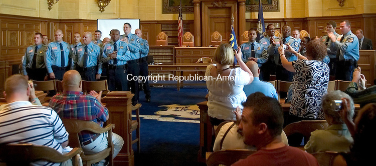 HARTFORD, CT. 14 August 2008-081408SV03--A new class of 22 Judicial Marshals graduated at the State Library in Hartford Thursday. Three of the new recruits are coming to the Waterbury Court House.<br /> Steven Valenti Republican-American