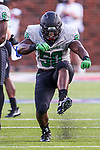North Texas Mean Green defensive end LaDarius Hamilton (50) in action during the game between the North Texas Mean Green and the SMU Mustangs at the Gerald J. Ford Stadium in Fort Worth, Texas.