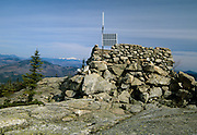 Middle Sister Groundhouse (fire tower) on Middle Sister Mountain in Albany, New Hampshire USA. This fire tower was in operation from 1927-1948