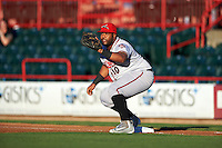 Richmond Flying Squirrels first baseman Angel Villalona (10) waits for a throw during a game against the Erie SeaWolves on August 22, 2016 at Jerry Uht Park in Erie, Pennsylvania.  Erie defeated Richmond 4-2.  (Mike Janes/Four Seam Images)