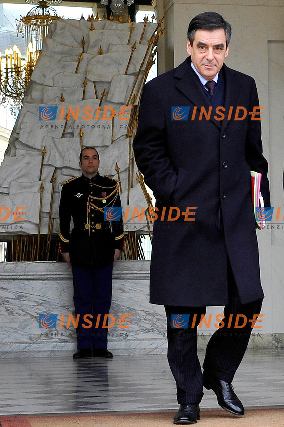 Francois Fillon Primo Ministro francese..Parigi 11/01/2012 Consiglio dei Ministri all' Eliseo.foto Insidefoto / Gerard Roussel / Panoramic