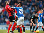 16.03.2019 Rangers v Kilmarnock: Kirk Broadfoot and Alfredo Morelos have a go at each other at half time