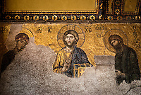Religious decorations in Hagia Sofia, the byzantine church that became a mosque when the ottomans seized the city. Seen here, a mosaics representing life of the christ.