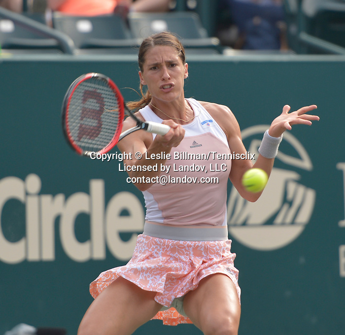 Andrea Petkovic (GER) defeats Danka Kovinic (MNE) 2-6, 6-3, 6-1 to move into the Semifinals at the Family Circle Cup in Charleston, South Carolina on April 10, 2015.
