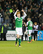 4th November 2017, Easter Road, Edinburgh, Scotland; Scottish Premiership football, Hibernian versus Dundee; Hibernian's Simon Murray, scorer of the winning goal, celebrates at full time