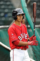 Infielder Javier Guerra (31) of the Greenville Drive during a Media Day first workout of the season on Tuesday, April 7, 2015, at Fluor Field at the West End in Greenville, South Carolina. (Tom Priddy/Four Seam Images)