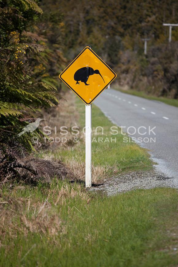 Kiwi birds crossing road sign, near Okarito, South Westland New Zealand