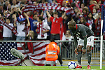 28 May 2008: DaMarcus Beasley (USA) lines up a corner kick as U.S. fans behind him show their support. The England Men's National Team defeated the United States Men's National Team 2-0 at Wembley Stadium in London, England in an international friendly soccer match.