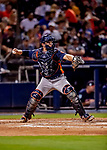 23 February 2019: Houston Astros catcher Max Stassi in action against the Washington Nationals during a Spring Training game at the Ballpark of the Palm Beaches in West Palm Beach, Florida. The Nationals rallied to walk off with a 7-6 Grapefruit League Opening Game win to start the pre-season. Mandatory Credit: Ed Wolfstein Photo *** RAW (NEF) Image File Available ***