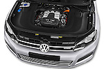 Car Stock 2014 Volkswagen Touareg Hybrid 5 Door SUV 2WD Engine high angle detail view