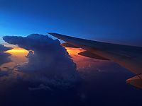 Spectacular sunset and atom clouds view from the plane flying from Bangkok to Manila.