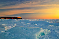 Ice in Isthmus Bay in Georgian Bay (Lake Huron) at sunrise. Bruce Peninsula.<br />
