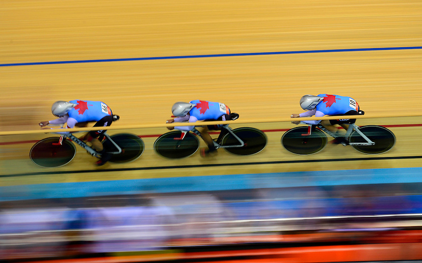 Canada's Gillian Carleton, left to right, Jasmin Glaesser, and Tara Whitten race the women's team pursuit qualification during the 2012 Summer Olympics in London on Friday, August 3, 2012. THE CANADIAN PRESS/Sean Kilpatrick