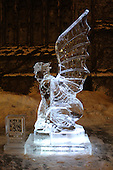 Neighborhood residents were treated to free donuts and ice sculpting demonstrations during a Winter Arts Festival in the Hutchinson Courtyard at the University of Chicago Friday afternoon. <br /> <br /> An ice sculpture of a gargoyle sits in the Hutchinson Commons at the University of Chicago.
