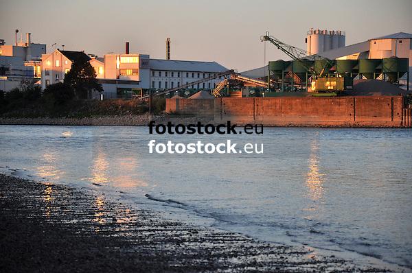 Rheinstrand bei Hamm am Rhein mit Blick über den Rhein auf die Industrieanlagen von Gernsheim im Sonnenuntergangslicht