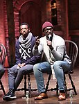 """Tyler McKenzie and Carvens Lissaint from the 'Hamilton' cast during a Q & A before The Rockefeller Foundation and The Gilder Lehrman Institute of American History sponsored High School student #EduHam matinee performance of """"Hamilton"""" at the Richard Rodgers Theatre on October 25, 2017 in New York City."""