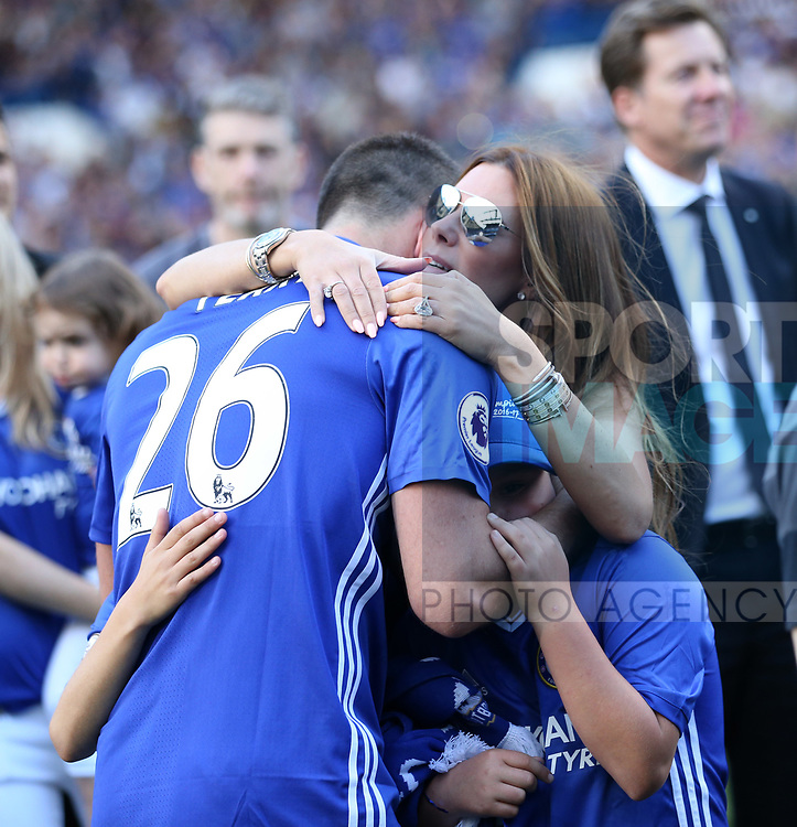 Chelsea's John Terry hugs his family during the Premier League match at Stamford Bridge Stadium, London. Picture date: May 18th, 2017. Pic credit should read: David Klein/Sportimage