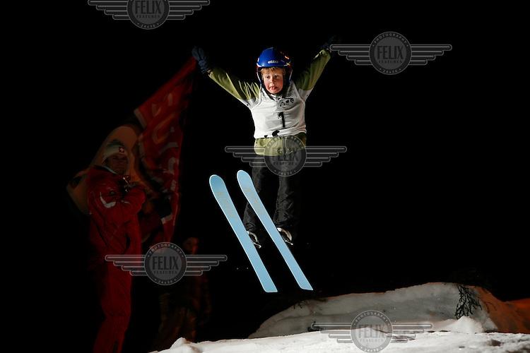 Olav Dvergsdal Prestegård, from the club Ready, as he jumps in a competition in Schrøderbakken ski jump. 17.01.2008