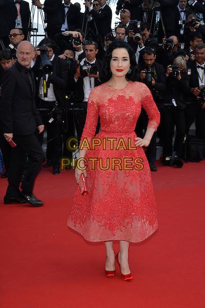 Dita Von Teese.'Cleopatra' premiere at the 66th  Cannes Film Festival, France..21st May 2013.full length red lace dress hand on hip.CAP/PL.©Phil Loftus/Capital Pictures.