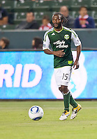 CARSON, CA – June 3, 2011: Portland Timbers forward Jorge Perlaza (15) looks to pass the ball during the match between Chivas USA and Portland Timbers at the Home Depot Center in Carson, California. Final score Chivas USA 1, Portland Timbers 0.