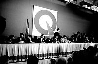 Rene Levesque and Ministers adress the medias at the Parti Quebecois' Conseil National Extrordinaire at Montreal's convention centre, January 19, 1985.<br /> <br /> File Photo : Agence Quebec Presse - Pierre Roussel