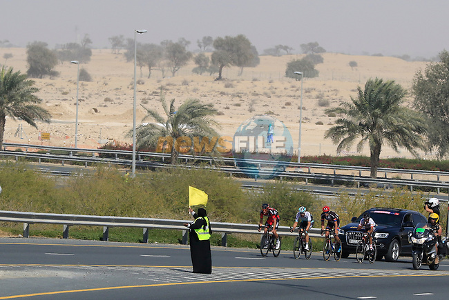 The breakaway group pass by Dubailand during Stage 2, the Nakheel Stage, of the 2016 Dubai Tour starting at the Dubai International Marine Club and running 188km to Palm Jumeirah Atlantis, Dubai, United Arab Emirates. 4th February 2016.<br /> Picture: Eoin Clarke | Newsfile<br /> <br /> <br /> All photos usage must carry mandatory copyright credit (&copy; Newsfile | Eoin Clarke)