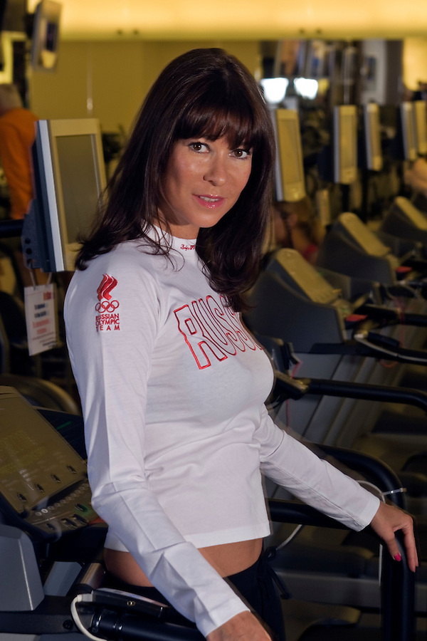 Moscow, Russia, 06/08/2007..Olga Slutsker, President of World Class Fitness, at one of the club's chain of gymnasiums and fitness centres.