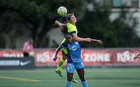 Seattle, WA - Saturday July 23, 2016: Kendall Fletcher, Jamia Fields during a regular season National Women's Soccer League (NWSL) match between the Seattle Reign FC and the Orlando Pride at Memorial Stadium.