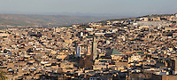 View of the city of Fes in Fes-Boulemane, Northern Morocco. Fes is the third largest city in Morocco and was capital of the Marinid dynasty from 1250 to 1474. Its medina or old town was listed as a UNESCO World Heritage Site in 1981. Picture by Manuel Cohen
