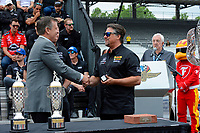 Verizon IndyCar Series<br /> Indianapolis 500 Drivers Meeting<br /> Indianapolis Motor Speedway, Indianapolis, IN USA<br /> Saturday 27 May 2017<br /> Team owner Michael Andretti receives his winner's rings.<br /> World Copyright: F. Peirce Williams