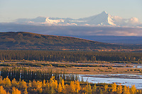 Tanana river flowing through Interior Alaska, Alaska mountain range in distance, near Delta Junction, Alaska