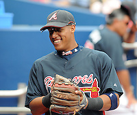 29 March 2008: Yunel Escobar of the Atlanta Braves in an exhibition game against the Cleveland Indians at Turner Field in Atlanta, Ga.   Photo by: Tom Priddy/Four Seam Images