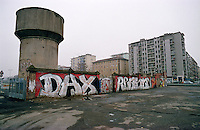 "Milano, zona Navigli. Un graffito in memoria di Davide Cesare ""Dax"", ragazzo del centro sociale Orso ucciso da neofascisti nel marzo 2003 --- Milan, Navigli district. A graffiti in memory of Davide Cesare ""Dax"" of the  social center ""Orso"", who was killed by neo-fascists on march 2003"