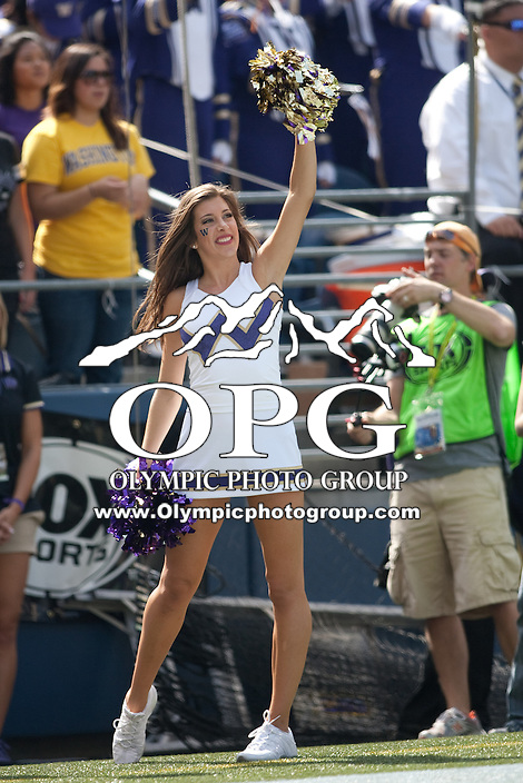 Sept 15, 2012:  Washington cheerleader Megan Florer entertained fans during the game against Portland State.  Washington defeated Portland State 52-13 at CenturyLink Field in Seattle, Washington...