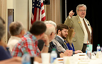 NWA Democrat-Gazette/DAVID GOTTSCHALK  Keith Rutledge, director of the State Board of Election Commissioners, speaks Wednesday, April 19, 2017, at the beginning of the County Boards of Election Commissioners Regional Meeting at the Washington County Sheriff's Office in Fayetteville. The Washington County Election Commission also gave tours of the the expanded Washington County Election Commission in south Fayetteville. Space in the building has been renovated after a veteran's service office was moved to a new location.