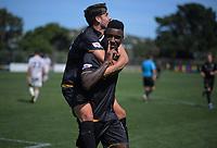 Jack-Henry Sinclair celebrates Joao Moereira's goal during the ISPS Handa Premiership football match between Team Wellington and Eastern Suburbs at David Farrington Park in Wellington, New Zealand on Sunday, 1 March 2020. Photo: Dave Lintott / lintottphoto.co.nz