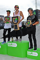 19 August, 2012:  Brett Banasiewicz (center) Kyle Baldock (left) and Scotty Cranmer (right) stand on the podium at the Pantech Beach Championships in Ocean City, Md.  Brett finished first in the event.