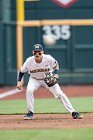 Michigan Wolverines third baseman Blake Nelson (10) XXX during Game 1 of the NCAA College World Series against the Texas Tech Red Raiders on June 15, 2019 at TD Ameritrade Park in Omaha, Nebraska. Michigan defeated Texas Tech 5-3. (Andrew Woolley/Four Seam Images)