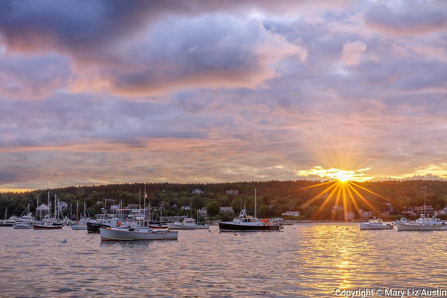 Mount Desert Island, Maine: Boats anchored in Southwest Harbor at sunset