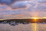 Mount Desert Island, Maine: Boats anchored in Southwest Harbor at sunset