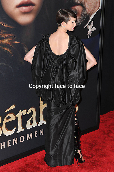 "Anne Hathaway (wore a Tom Ford Spring 2013 dress) at the premiere of ""Les Miserables"", New York, 10.12.2012...Credit: StarMaxInc/face to face..- Spain, Hungary, Bulgaria, Croatia, Russia, Romania and Moldavia, Slovakia, Slovenia, Bosnia & Herzegowina, Serbia, Ukraine and Belaurus, Lithuania, Latvia and Estonia, Australia, Taiwan, Singapore, China, Malaysia and Thailand rights only -"
