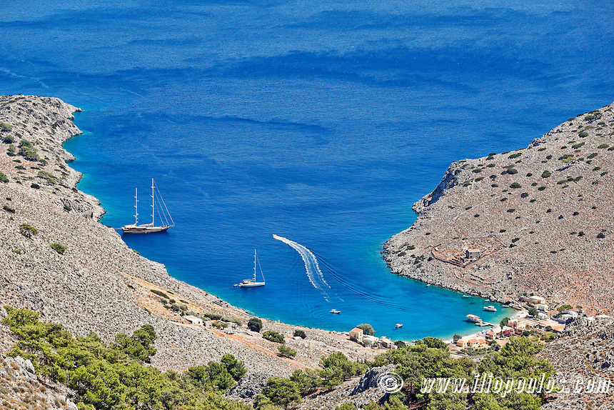 Marathounta beach in Symi island, Greece